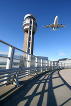 airport control tower jet aircraft